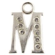 Letter M - Sterling Silver Charm With Crystals
